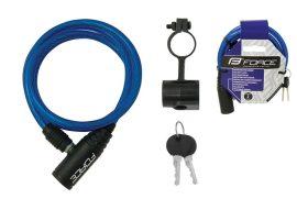 FORCE spirál zár kulcsos 120cm/8mm kék